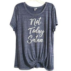 NEW Cato Not Today Satan Blue Short Sleeve Tee - L